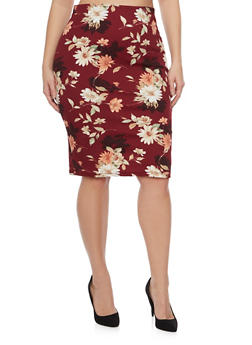 Plus Size Pencil Skirt in Floral Print - BURGUNDY/MAUVE - 8444020624493