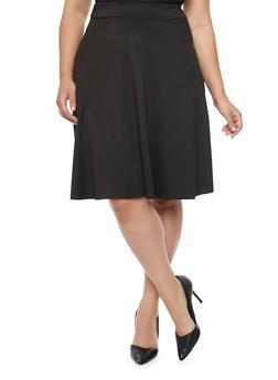 Plus Size Scuba Knit Circle Skirt - BLACK - 8444020624600