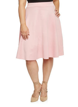Plus Size Scuba Knit Circle Skirt - 8444020624600