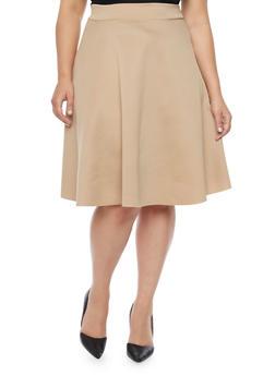 Plus Size Scuba Knit Circle Skirt - TAUPE - 8444020624600