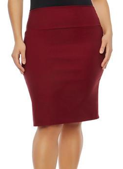 Plus Size Back Slit Pencil Skirt - 8444020625244