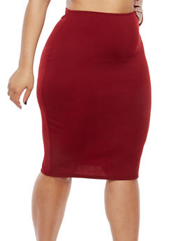 Plus Size Textured Knit Pencil Skirt - 8444020625343