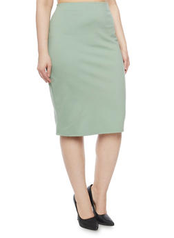 Plus Size Ponte Knit Midi Pencil Skirt - 8444020625449