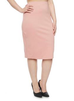 Plus Size Ponte Knit Midi Pencil Skirt - BLUSH - 8444020625449