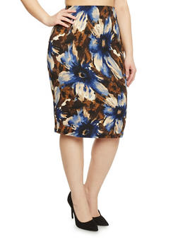 Plus Size Mid Length Floral Pencil Skirt - 8444020625667