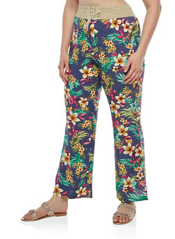 Plus Size Lace Up Floral Pants - 8444020626022