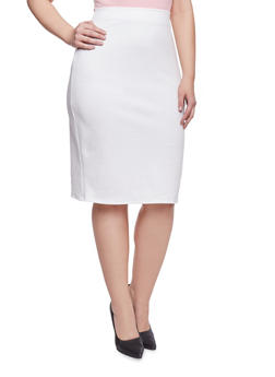 Plus Size Midi Pencil Skirt - IVORY - 8444020626284