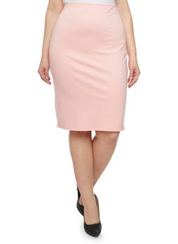 Plus Size Midi Pencil Skirt - DARK ROSE - 8444020626284