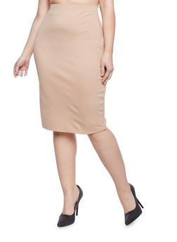 Plus Size Midi Pencil Skirt - 8444020626284