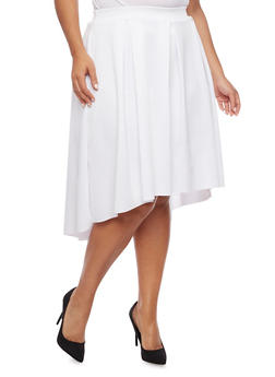 Plus Size Pleated Skirt with High Low Hem - WHITE - 8444020626744