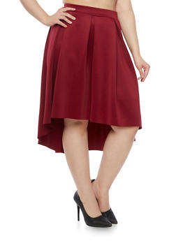 Plus Size Pleated Skirt with High Low Hem - WINE - 8444020626744