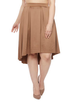 Plus Size Pleated Skirt with High Low Hem - 8444020626744