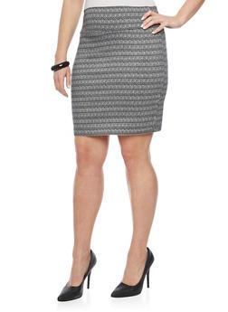 Plus Size Jacquard Short Pencil Skirt - BLK PTN - 8444020626852