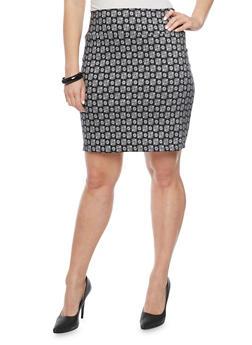 Plus Size Jacquard Short Pencil Skirt - CLK/IVORY - 8444020626852
