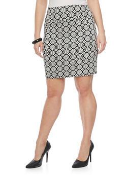 Plus Size Jacquard Short Pencil Skirt - BLACK/WHITE - 8444020626852