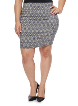 Plus Size Jacquard Short Pencil Skirt - 8444020626852