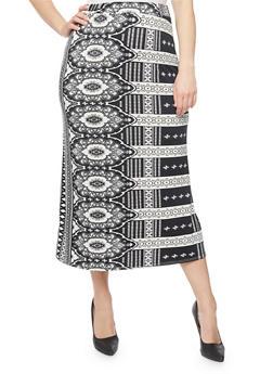 Plus Size Printed Maxi Skirt - BLACK - 8444020626968