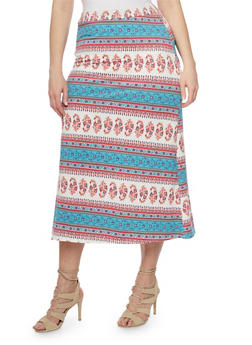 Plus Size Printed Maxi Skirt - 8444020626968