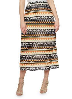 Plus Size Printed Maxi Skirt - 8444020626968