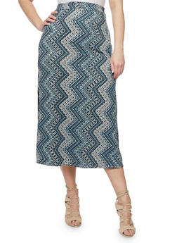 Plus Size Printed Maxi Skirt - TURQUOISE 2 - 8444020626968