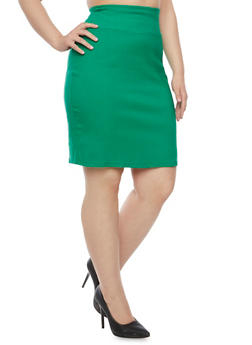 Plus Size Pencil Skirt in Stretch Twill - 8444020628184