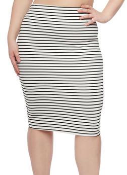 Plus Size Striped Pencil Midi Skirt - 8444020628199