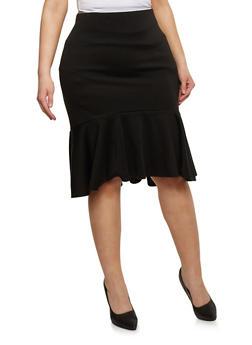Plus Size Ponte Knit Midi Skirt with Fishtail Hem - 8444020628244