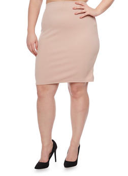 Plus Size Pencil Skirt in Stretch Knit - 8444020628455