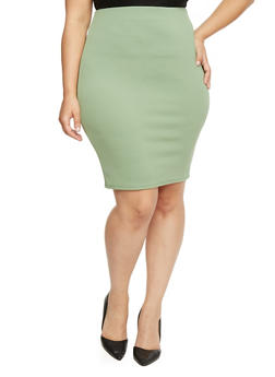 Plus Size Textured Crepe Stretch Pencil Skirt - 8444020629134