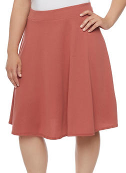 Plus Size Solid Soft Knit Skater Skirt - 8444020629344