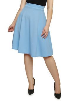 Plus Size Solid Soft Knit Skater Skirt - 8444020629344