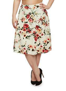 Plus Size Floral Textured Skater Skirt - 8444020629444