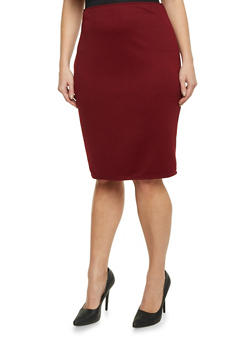 Plus Size Midi Pencil Skirt in Ribbed Knit - 8444020629454