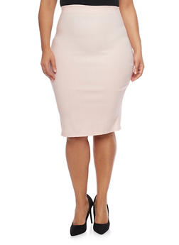 Plus Size Solid Pencil Skirt - 8444020629954