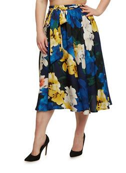 Plus Size Belted Floral Skater Skirt - 8444056126971