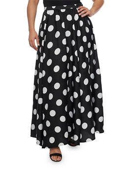Plus Size Polka Dot Maxi Skirt - 8444056126979