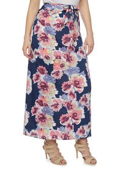 Plus Size Tie Front Floral Maxi Skirt - 8444056126984
