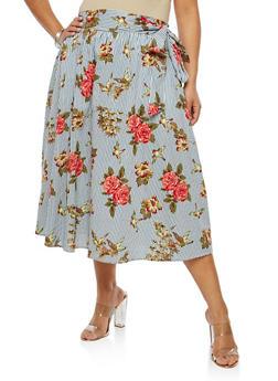 Plus Size Striped Floral Skater Skirt - 8444056126993