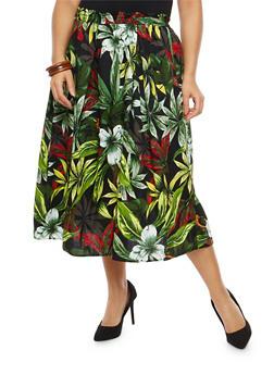 Plus Size Tropical Print Skater Skirt - 8444056126994