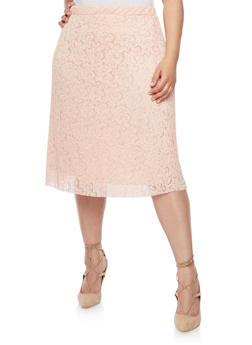Plus Size Pleated Lace Skirt - 8444062701864