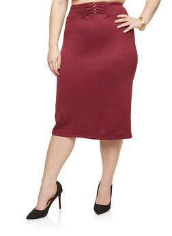 Plus Size Loop Waist Pencil Skirt - 8444062705737