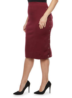 Plus Size Side Lace Up Pencil Skirt - 8444062707251
