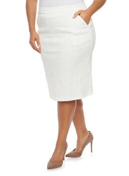 Plus Size Pencil Skirt with Embroidery - IVORY - 8444064462086
