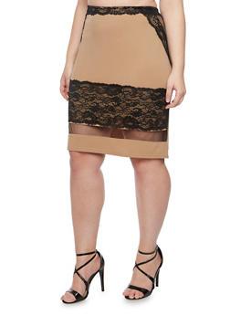 Plus Size Pencil Skirt with Lace Trim and Shadow Stripe Hem - MOCHA - 8444064462538