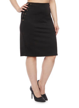 Plus Size Pencil Skirt with Fixed Lace Up Sides - 8444064466056