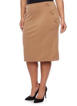 Plus Size Pencil Skirt with Fixed Lace Up Sides - BEIGE - 8444064466056