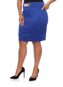 Plus Size Embossed Pencil Skirt with Plated Belt - 8444064468186