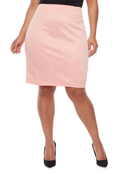 Plus Size Pencil Skirt with Embossed Print - 8444064468199