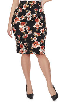 Plus Size Textured Floral Midi Pencil Skirt - 8444069391012