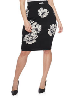 Plus Size Soft Knit Floral Pencil Skirt - 8444069391018